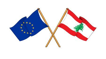 cartoon-like drawings of flags showing friendship between EU and Lebanon photo