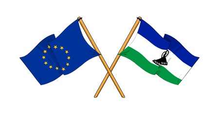 truce: cartoon-like drawings of flags showing friendship between EU and Lesotho Stock Photo