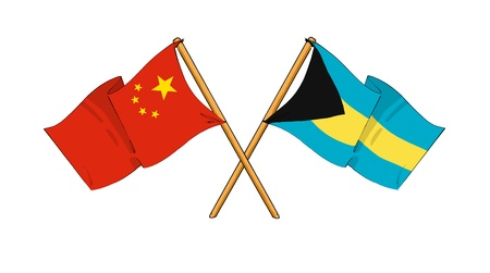 truce: cartoon-like drawings of flags showing friendship between China and The Bahamas Stock Photo