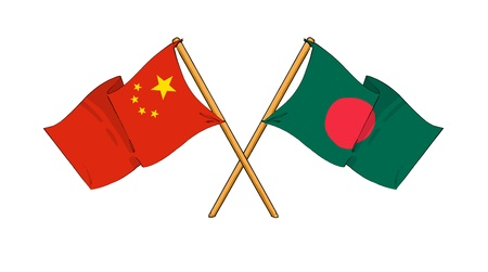 cartoon-like drawings of flags showing friendship between China and Bangladesh photo