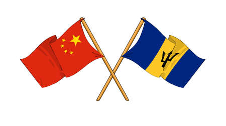 barbadian: cartoon-like drawings of flags showing friendship between China and Barbados