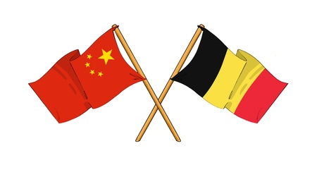 truce: cartoon-like drawings of flags showing friendship between China and Belgium Stock Photo