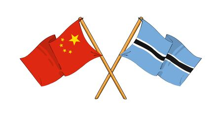 truce: cartoon-like drawings of flags showing friendship between China and Botswana