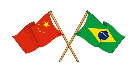 cartoon-like drawings of flags showing friendship between China and Brazil Stock Photo