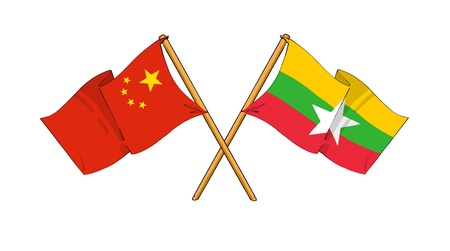 truce: cartoon-like drawings of flags showing friendship between China and Burma