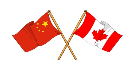 truce: cartoon-like drawings of flags showing friendship between China and Canada