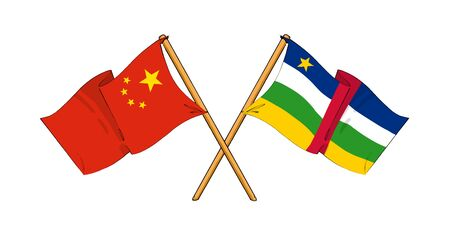 central african republic: cartoon-like drawings of flags showing friendship between China and Central African Republic Stock Photo