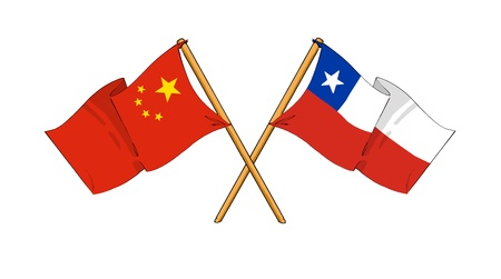 truce: cartoon-like drawings of flags showing friendship between China and Chile