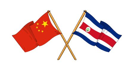 cartoon-like drawings of flags showing friendship between China and Costa Rica Stock Photo