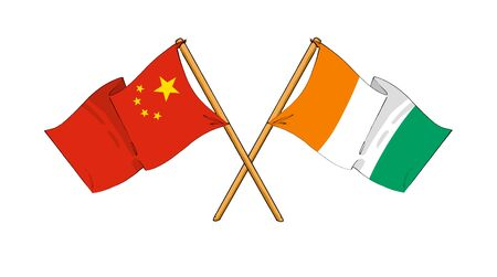 cartoon-like drawings of flags showing friendship between China and Ivory Coast photo