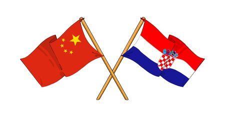 cartoon-like drawings of flags showing friendship between China and Croatia photo