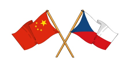 the republic of china: cartoon-like drawings of flags showing friendship between China and Czech Republic