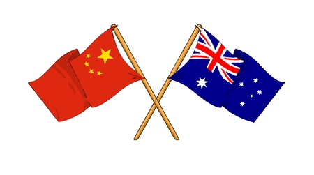 european union flag: cartoon-like drawings of flags showing friendship between China and Australia