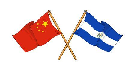 el salvadoran: cartoon-like drawings of flags showing friendship between China and El Salvador