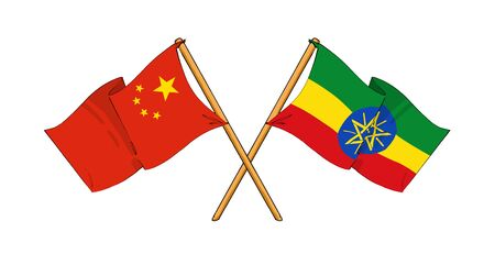 cartoon-like drawings of flags showing friendship between China and Ethiopia photo
