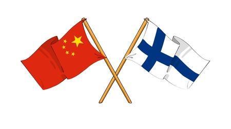 truce: cartoon-like drawings of flags showing friendship between China and Finland