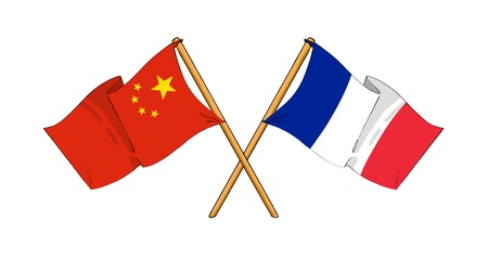 cartoon-like drawings of flags showing friendship between China and France photo