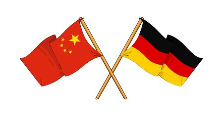 chinese flag: cartoon-like drawings of flags showing friendship between China and Germany Stock Photo