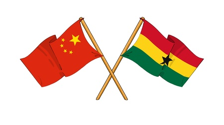 truce: cartoon-like drawings of flags showing friendship between China and Ghana