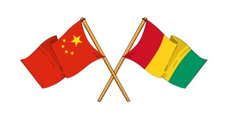 truce: cartoon-like drawings of flags showing friendship between China and Guinea