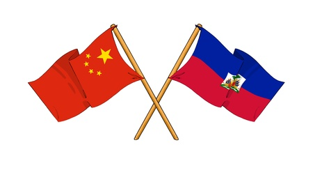 truce: cartoon-like drawings of flags showing friendship between China and Haiti