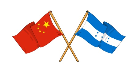 cartoon-like drawings of flags showing friendship between China and Honduras photo