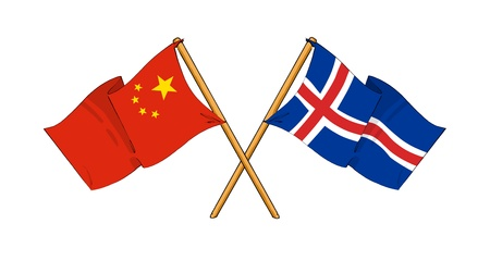 truce: cartoon-like drawings of flags showing friendship between China and Iceland Stock Photo