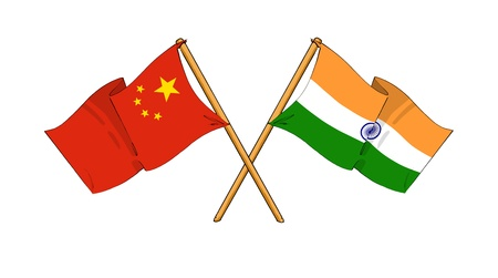 truce: cartoon-like drawings of flags showing friendship between China and India