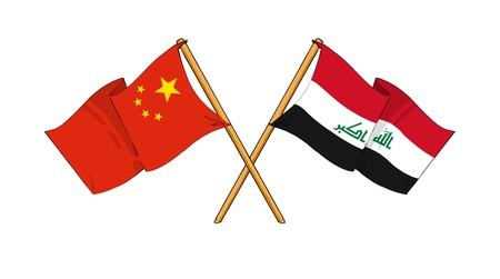 iraq conflict: cartoon-like drawings of flags showing friendship between China and Iraq
