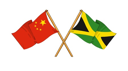 truce: cartoon-like drawings of flags showing friendship between China and Jamaica