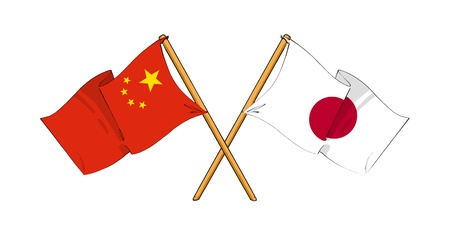 cartoon-like drawings of flags showing friendship between China and Japan