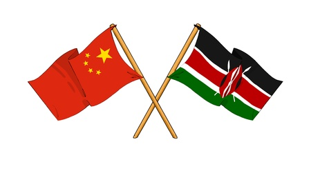 truce: cartoon-like drawings of flags showing friendship between China and Kenya Stock Photo
