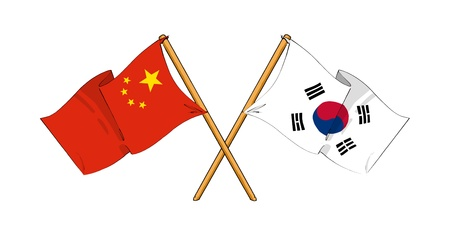 cartoon-like drawings of flags showing friendship between China and South Korea Stock Photo