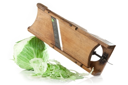 rasp: cabbage and old cabbage slicer on white background Stock Photo