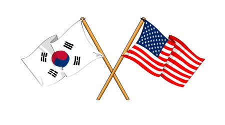 cartoon-like drawings of flags showing friendship between South Korea and USA Stock Photo
