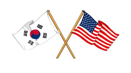 pacto: como los dibujos animados dibujos de banderas que muestran la amistad entre Corea del Sur y EE.UU.