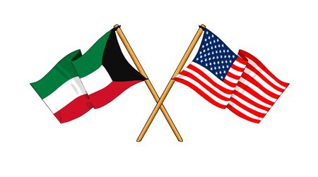 cartoon-like drawings of flags showing friendship between Kuwait and USA photo