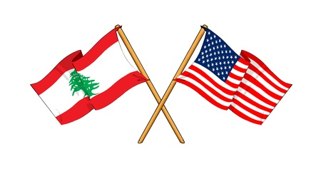 cartoon-like drawings of flags showing friendship between Lebanon and USA photo