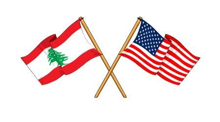 lebanon: cartoon-like drawings of flags showing friendship between Lebanon and USA