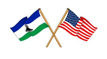 cartoon-like drawings of flags showing friendship between Lesotho and USA photo