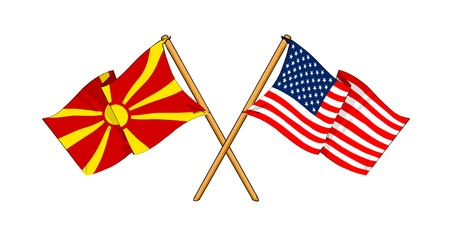 truce: cartoon-like drawings of flags showing friendship between Republic of Macedonia and USA Stock Photo