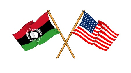 malawian: cartoon-like drawings of flags showing friendship between Malawi and USA