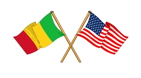 cartoon-like drawings of flags showing friendship between Mali and USA photo