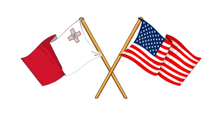 malta flag: cartoon-like drawings of flags showing friendship between Malta and USA Stock Photo