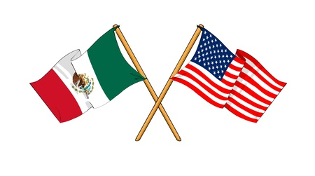 eu flag: cartoon-like drawings of flags showing friendship between Mexico and USA