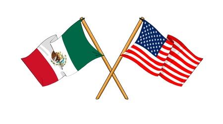 kreskówki, takie jak rysunki flagi pokazujące przyjaźń między Meksykiem i USA