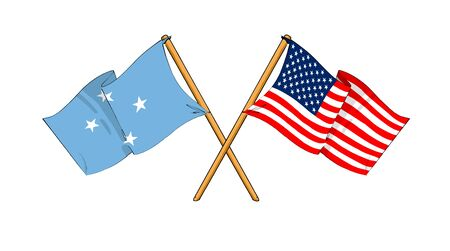 micronesia: cartoon-like drawings of flags showing friendship between Federated States of Micronesia and USA