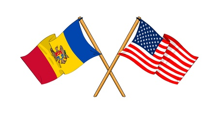 moldovan: cartoon-like drawings of flags showing friendship between Moldova and USA Stock Photo