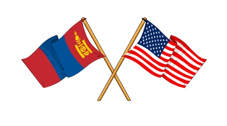 mongolia: cartoon-like drawings of flags showing friendship between Mongolia and USA