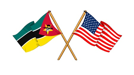 truce: cartoon-like drawings of flags showing friendship between Mozambique and USA Stock Photo